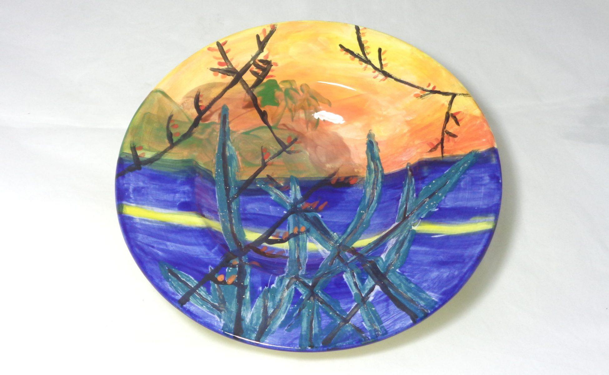Bemalte Keramik Teller Sonnenaufgang