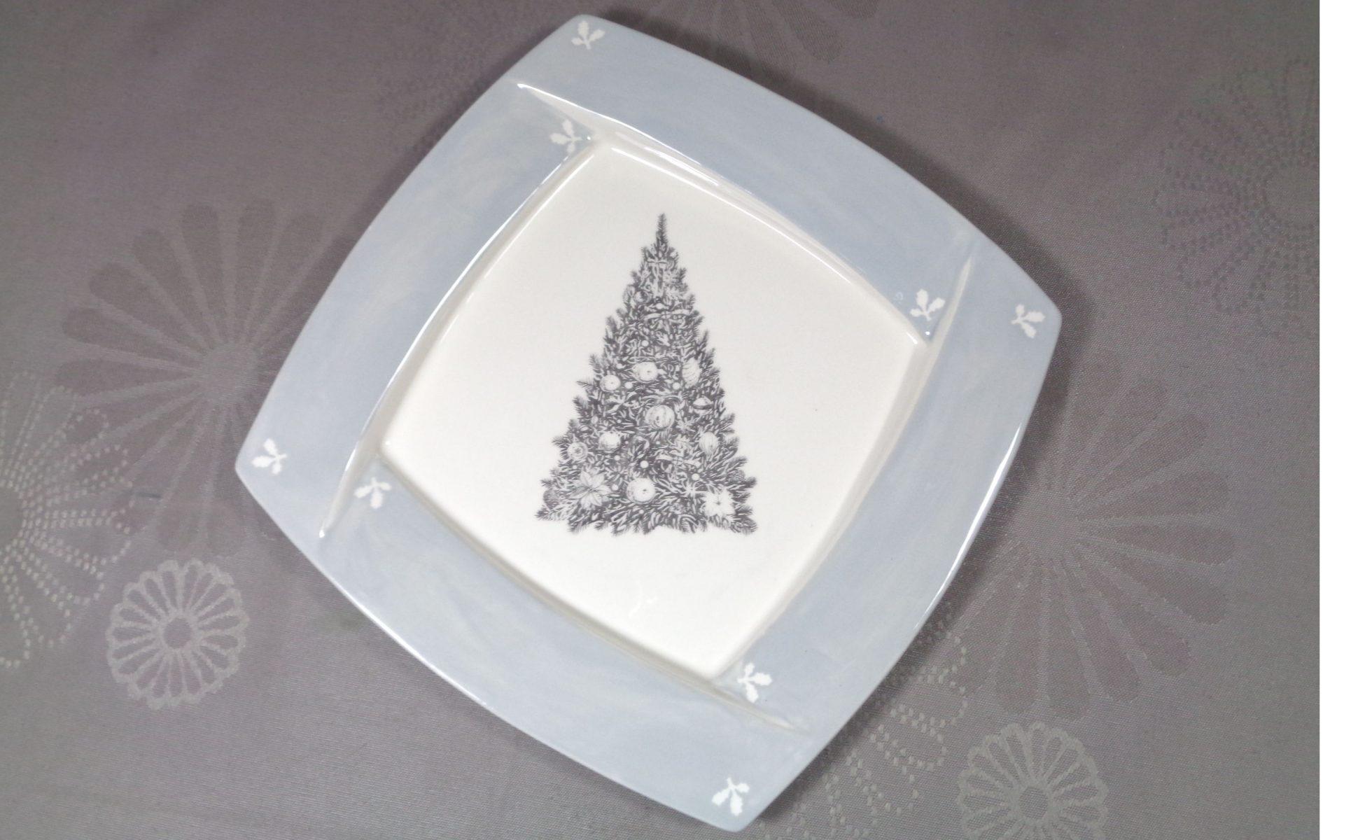 Bemalte Keramik USA-Teller Weihnachtsbaum