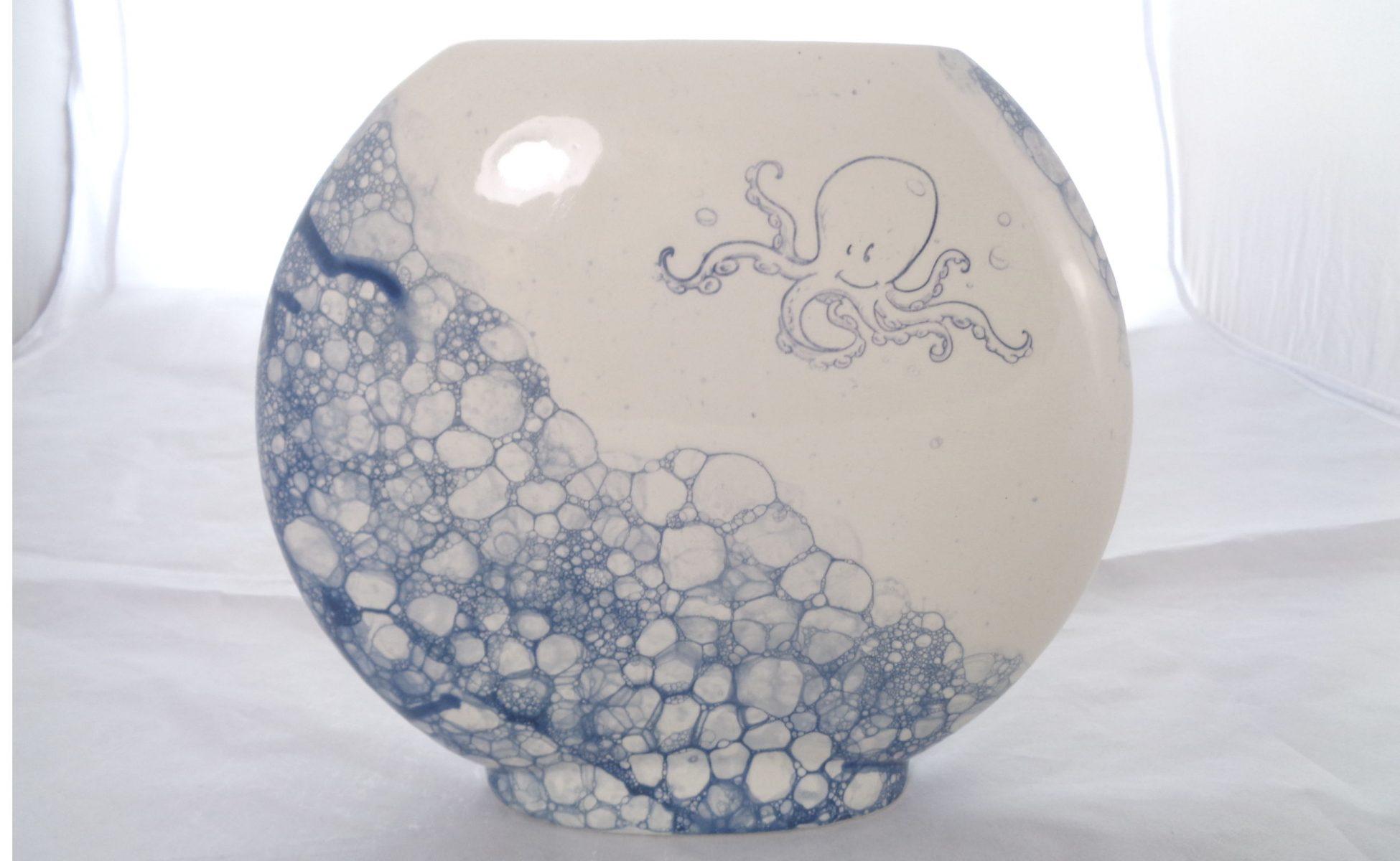 Bemalte Keramik Vase Discuss Blubber Octupus