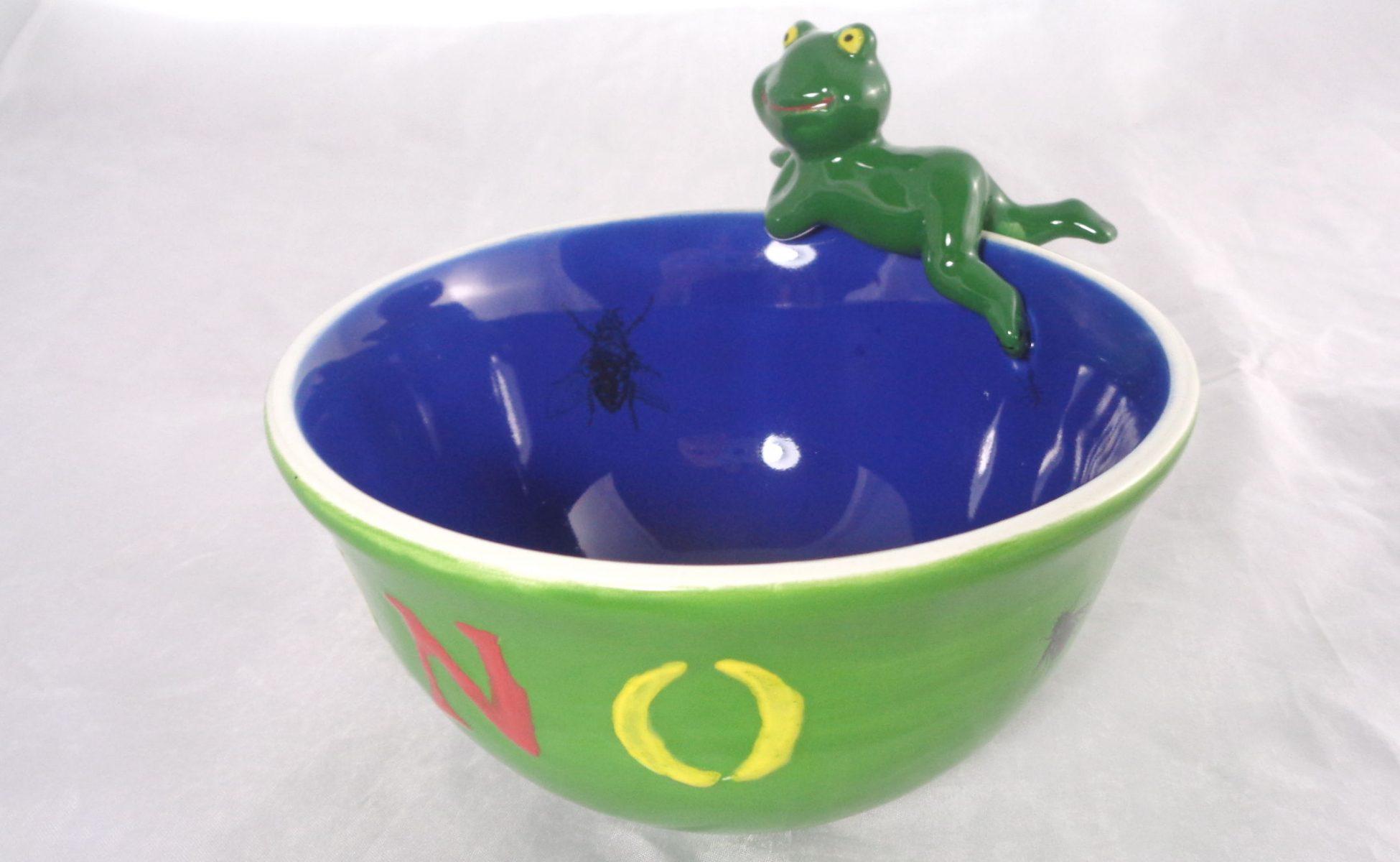 Bemalte Keramik Vintage Froschteich No2
