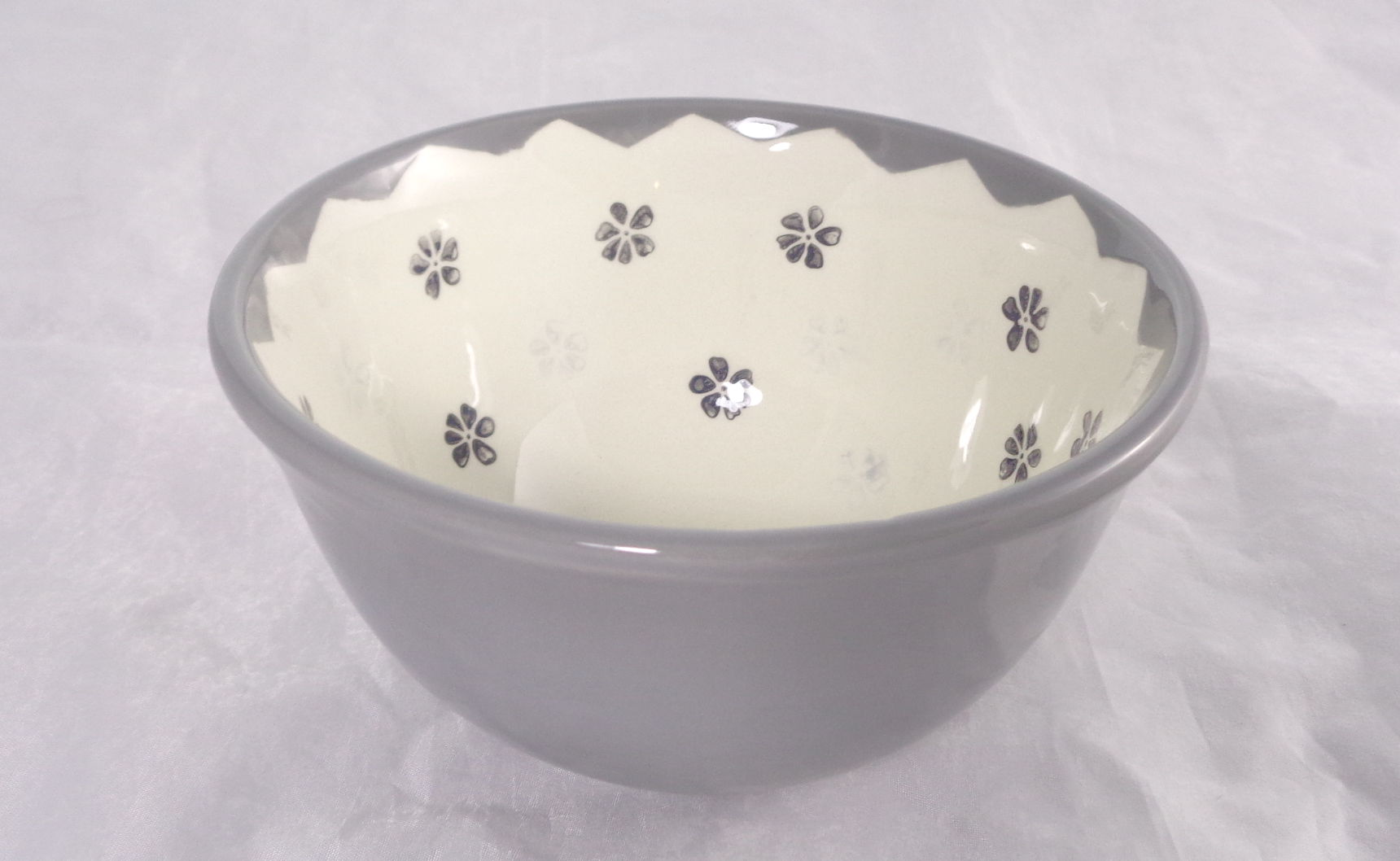 Bemalte Keramik Vintage grau Stemps No2