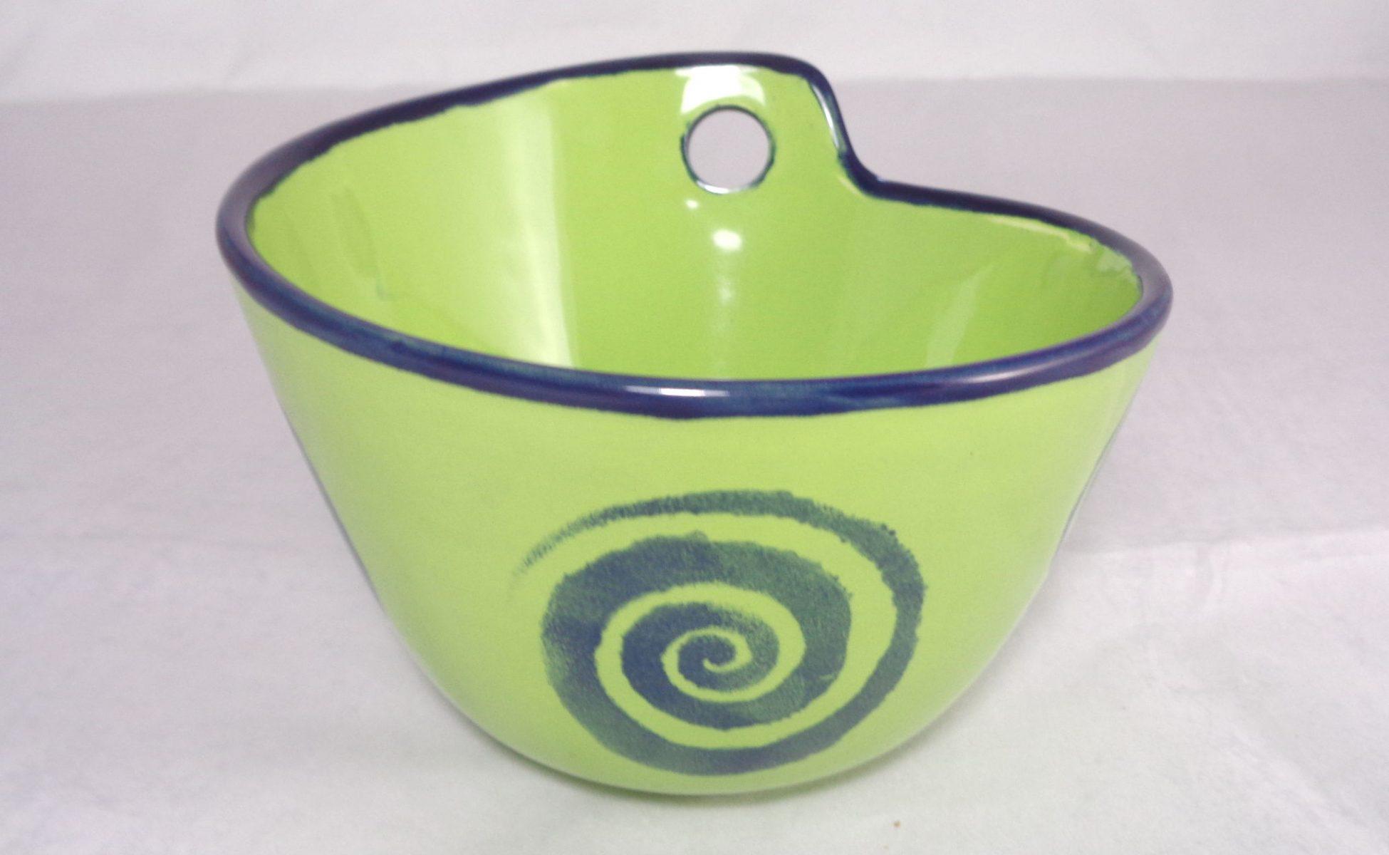 Bemalte Keramik Wok-Schale green
