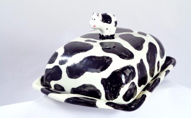 Bemalte Keramik Butterdose