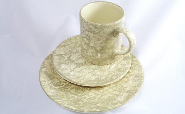 Bemalte Keramik Kaffee Kuchen Set
