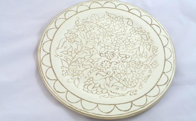 Bemalte Keramik Pizza Teller