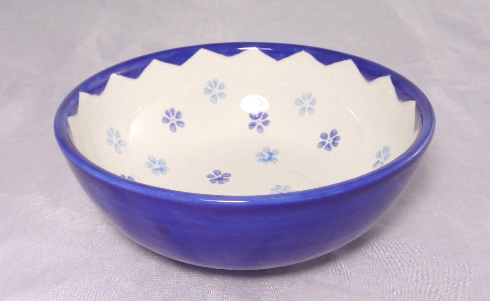 Bemalte Keramik blaue Müslischale Stemps No 4