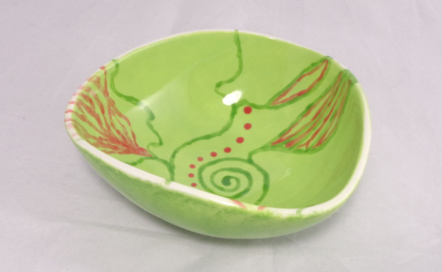 Bemalte Keramik green nature - dreieckig