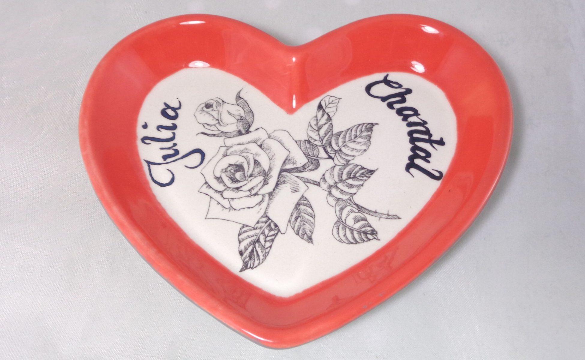 Bemalte Keramik kleiner Herzteller Julia