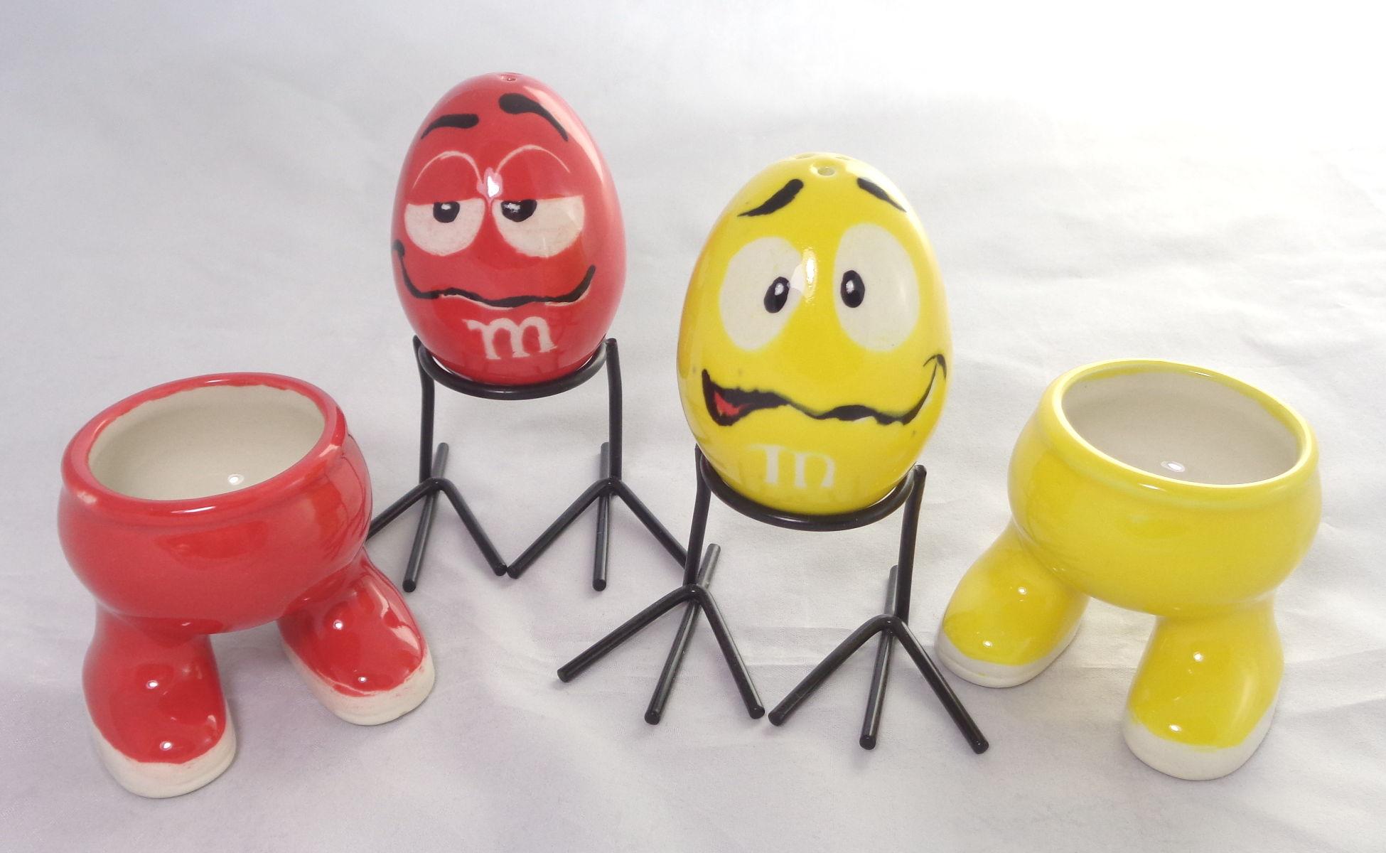 Bemalte Keramik m&ms Frühstücks-Set