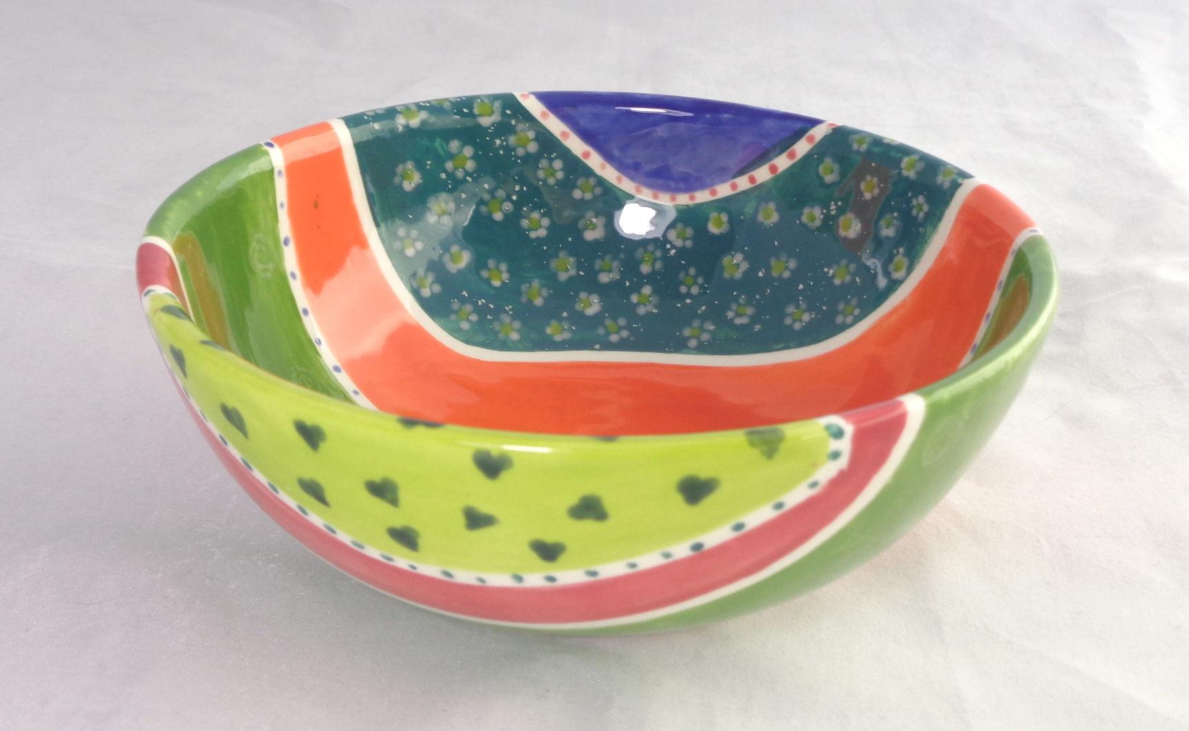 Bemalte Keramik schönste Müslischale bunt
