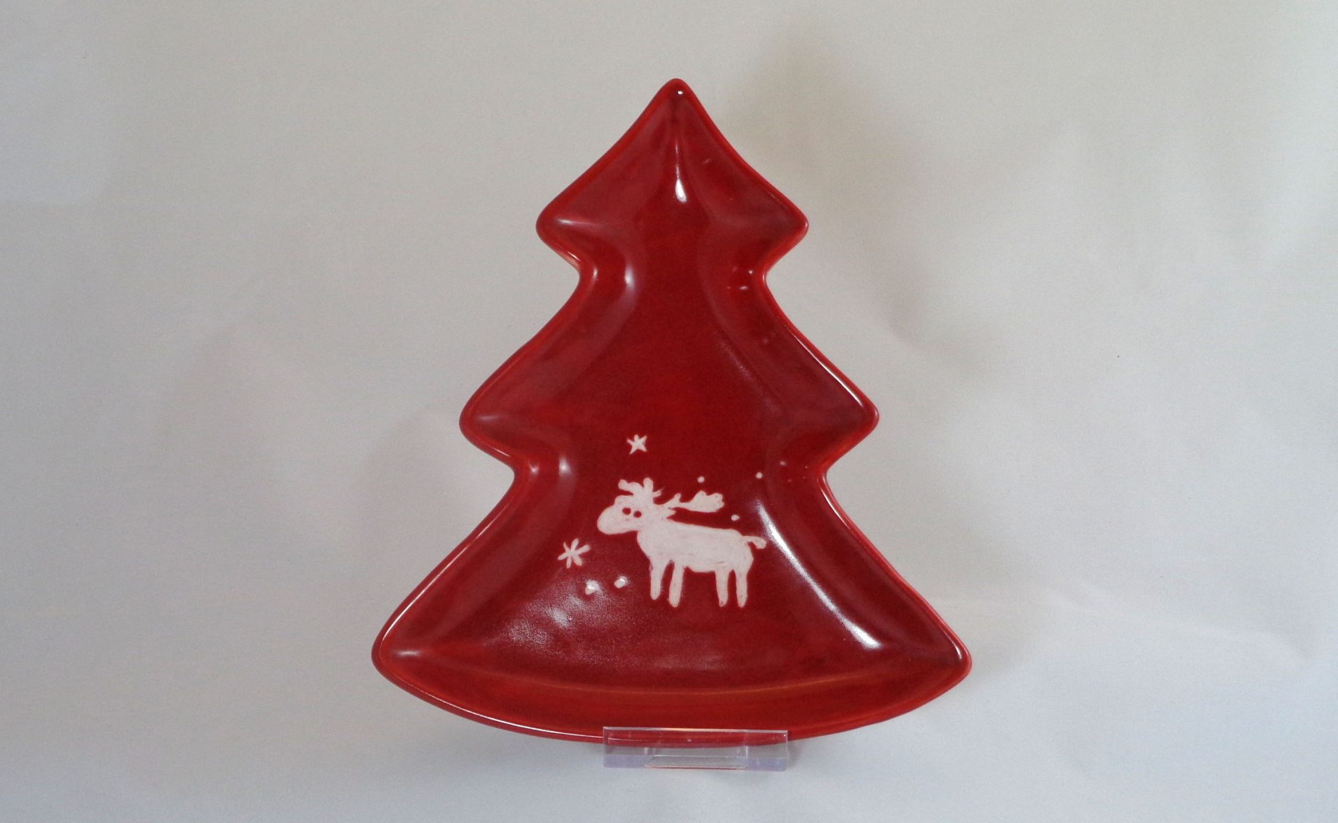 Bemalte Keramik Tannen-Teller Rentier